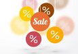 sale symbol percent discounts and blur icon on a background